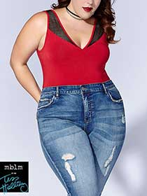 Tess Holliday - Mesh Trim Sleeveless Bodysuit