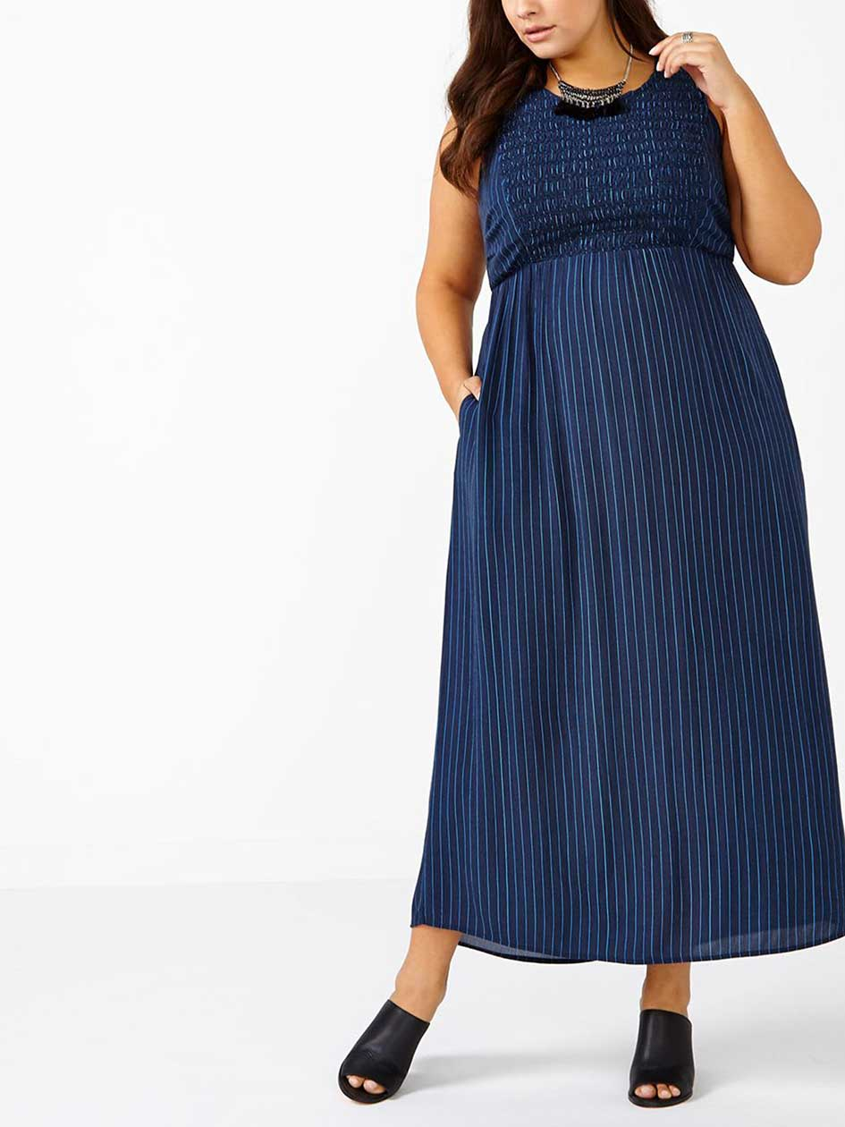 d/c JEANS Sleeveless Striped Smocked Dress