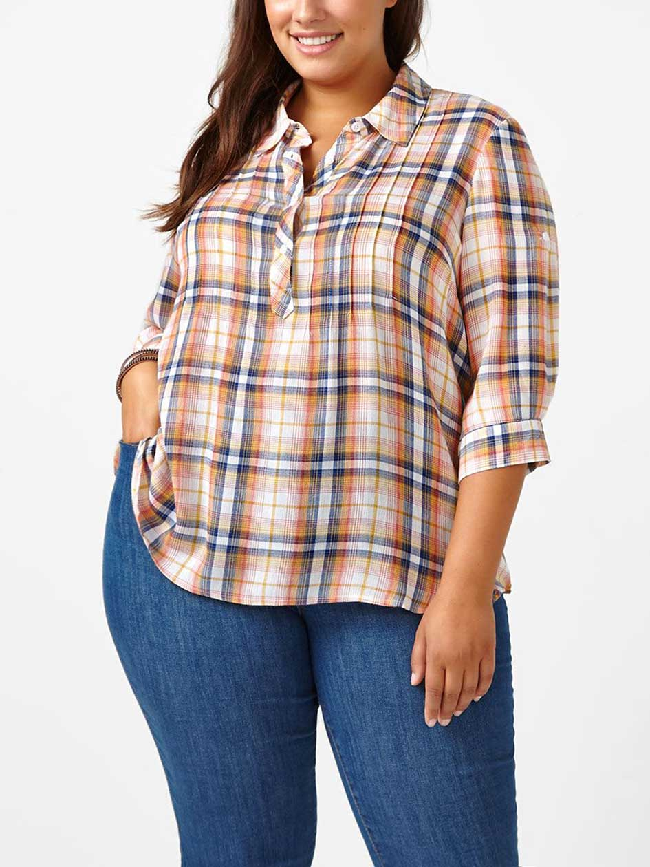 d/c JEANS 3/4 Sleeve Plaid Shirt