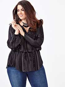 MELISSA McCARTHY Long Sleeve Striped Blouse