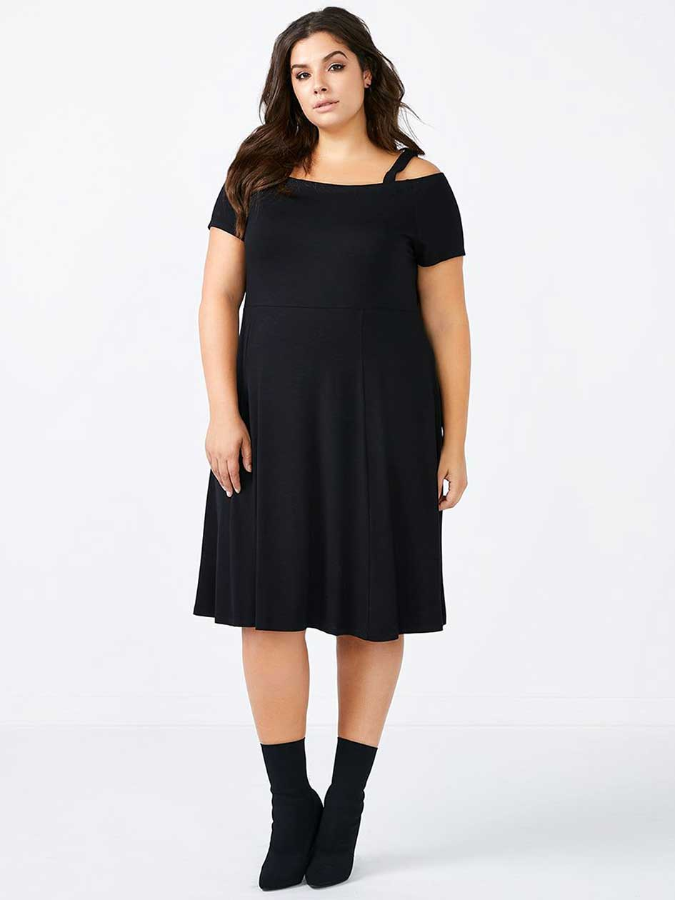 Short Sleeve Off Shoulder Black Dress