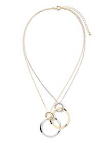 Dual-Chain Necklace with Hoops