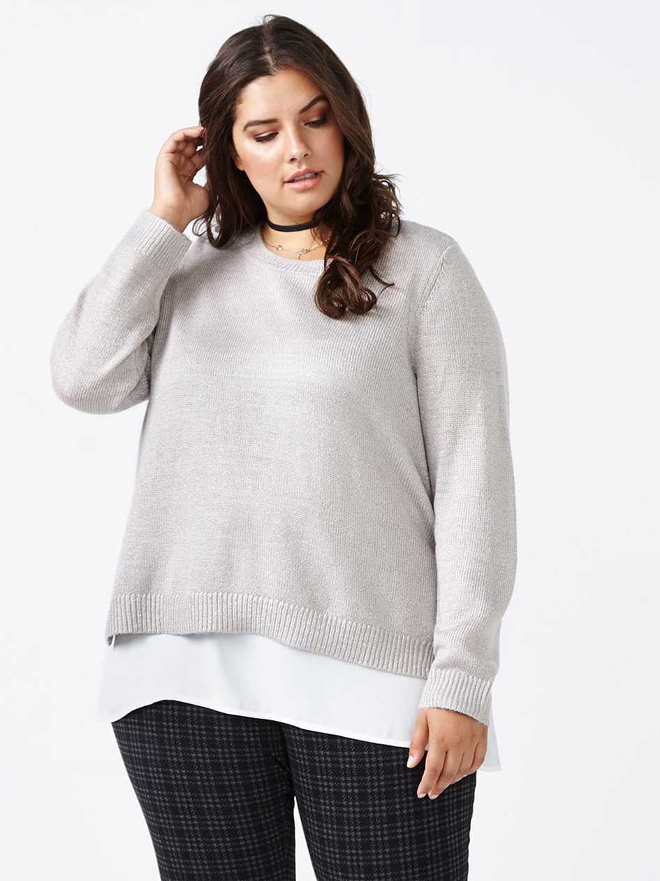 Knit Sweater with Fooler Hem