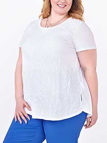 Short Sleeve Crushed Knit Swing Top