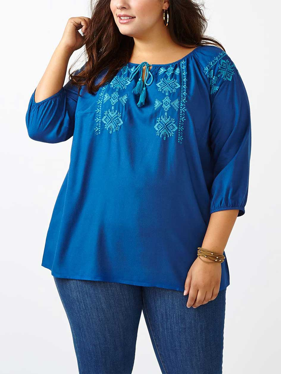 d/c JEANS Embroidered Peasant Blouse