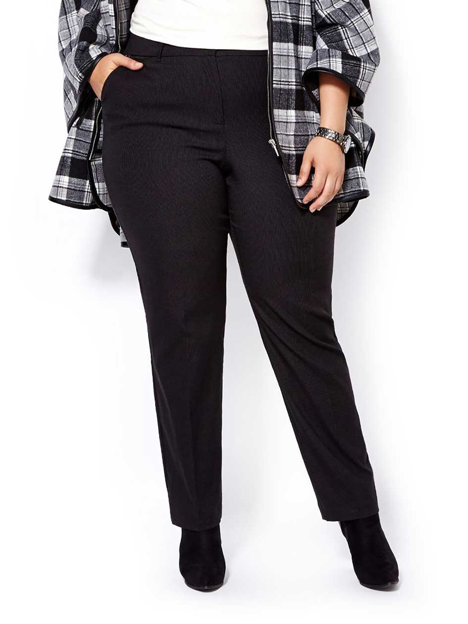 Slightly Curvy Fit Straight Leg Patterned Pant