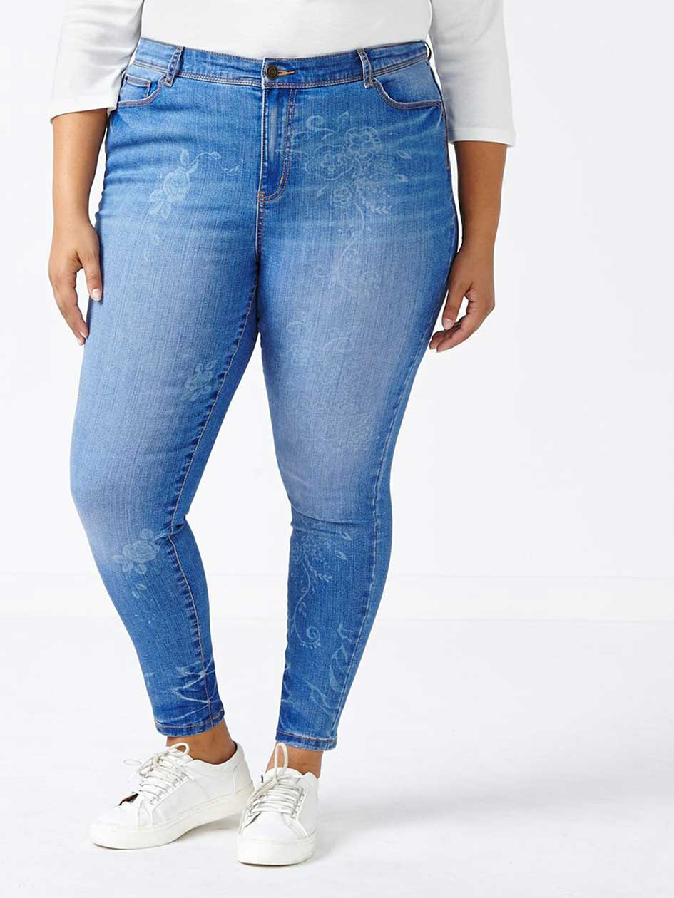 d/c JEANS Slightly Curvy Fit Patterned Skinny Jean