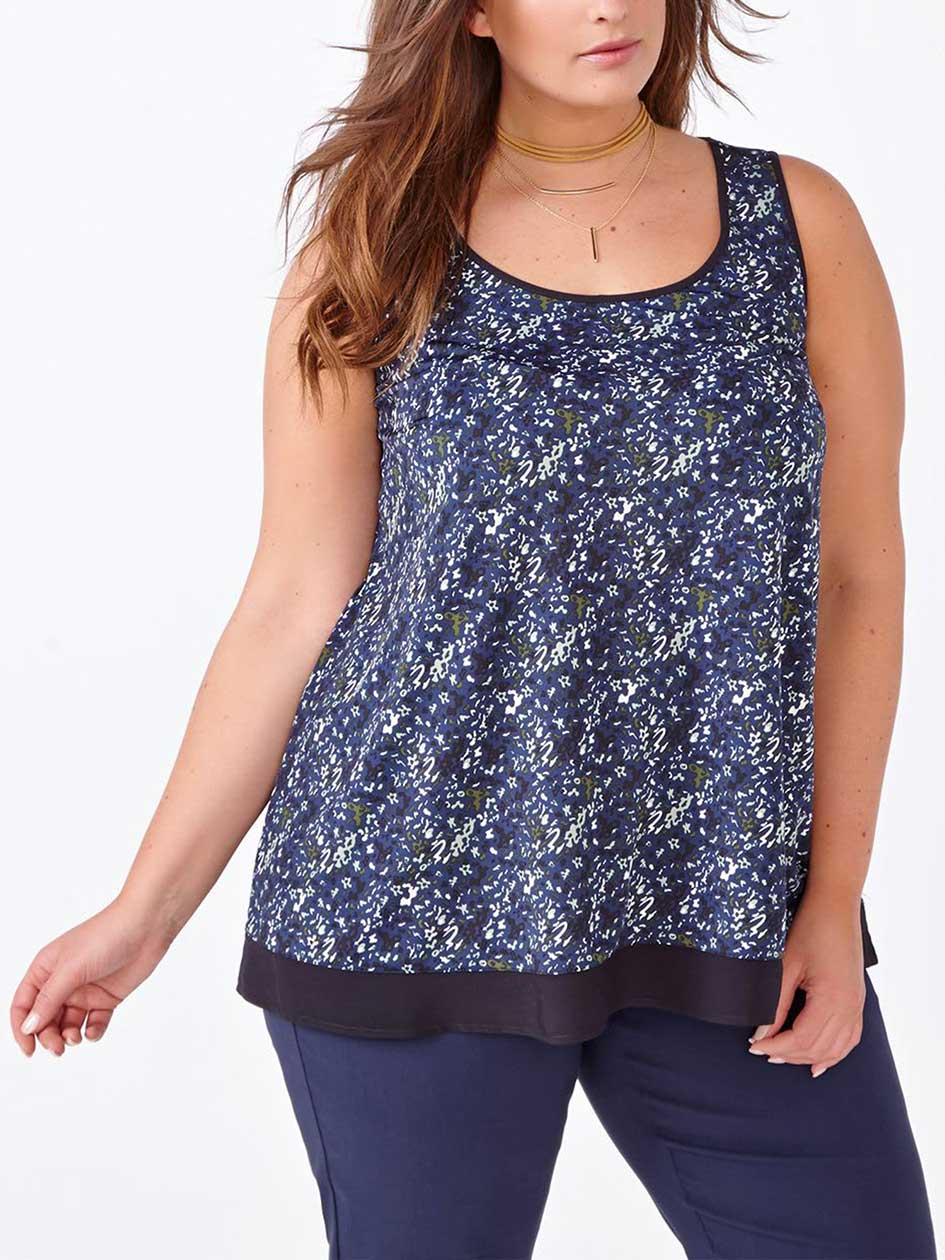Sleeveless Printed Swing Top