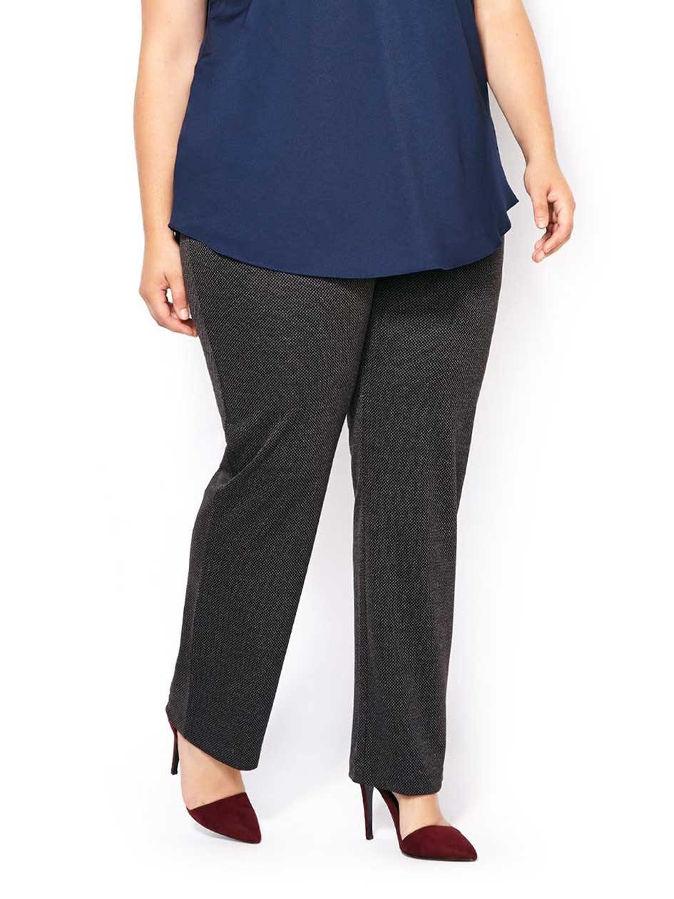 Savvy Fit Patterned Ponte de Roma Straight Leg Pant