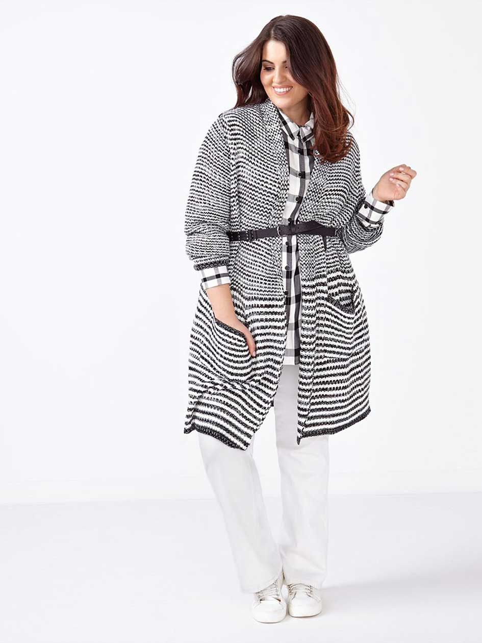 MELISSA McCARTHY Long Sleeve Striped Cardigan.Egret/Black.2X
