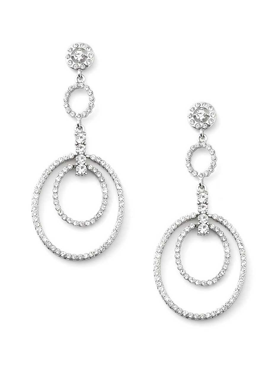 Earrings with Drop Circles and Gems