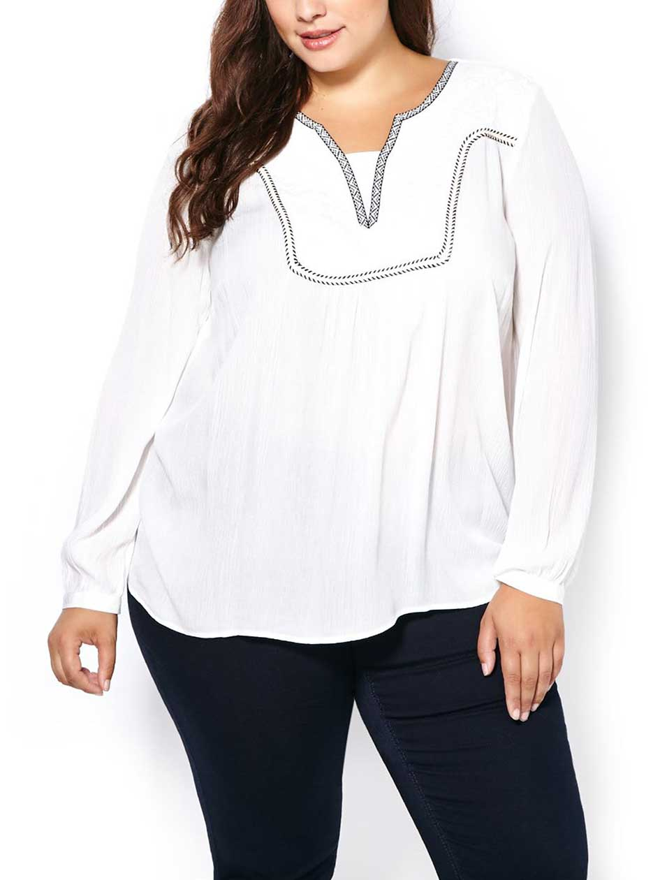 d/c JEANS Long Sleeve Embroidered Blouse