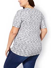Shaped Fit Ribbed Knit T-Shirt