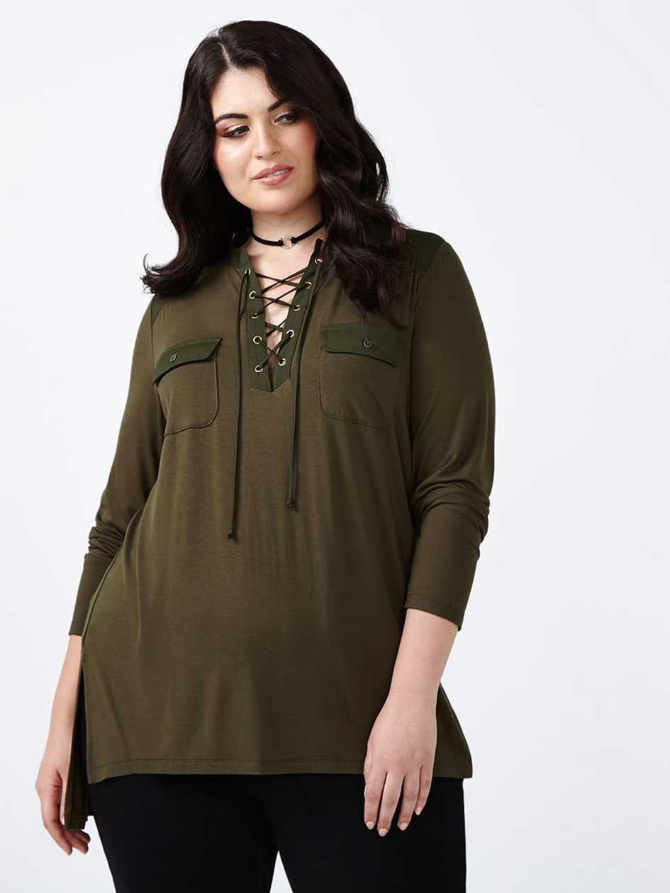Melissa McCarthy Lace-Up Blouse