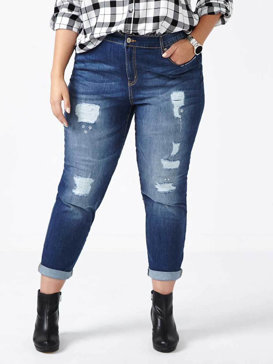 d/c JEANS Slightly Curvy Fit Distressed Girlfriend Jean