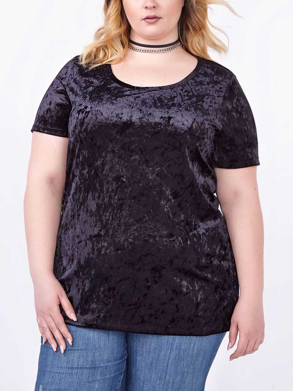 Relaxed Fit Velvet T-Shirt