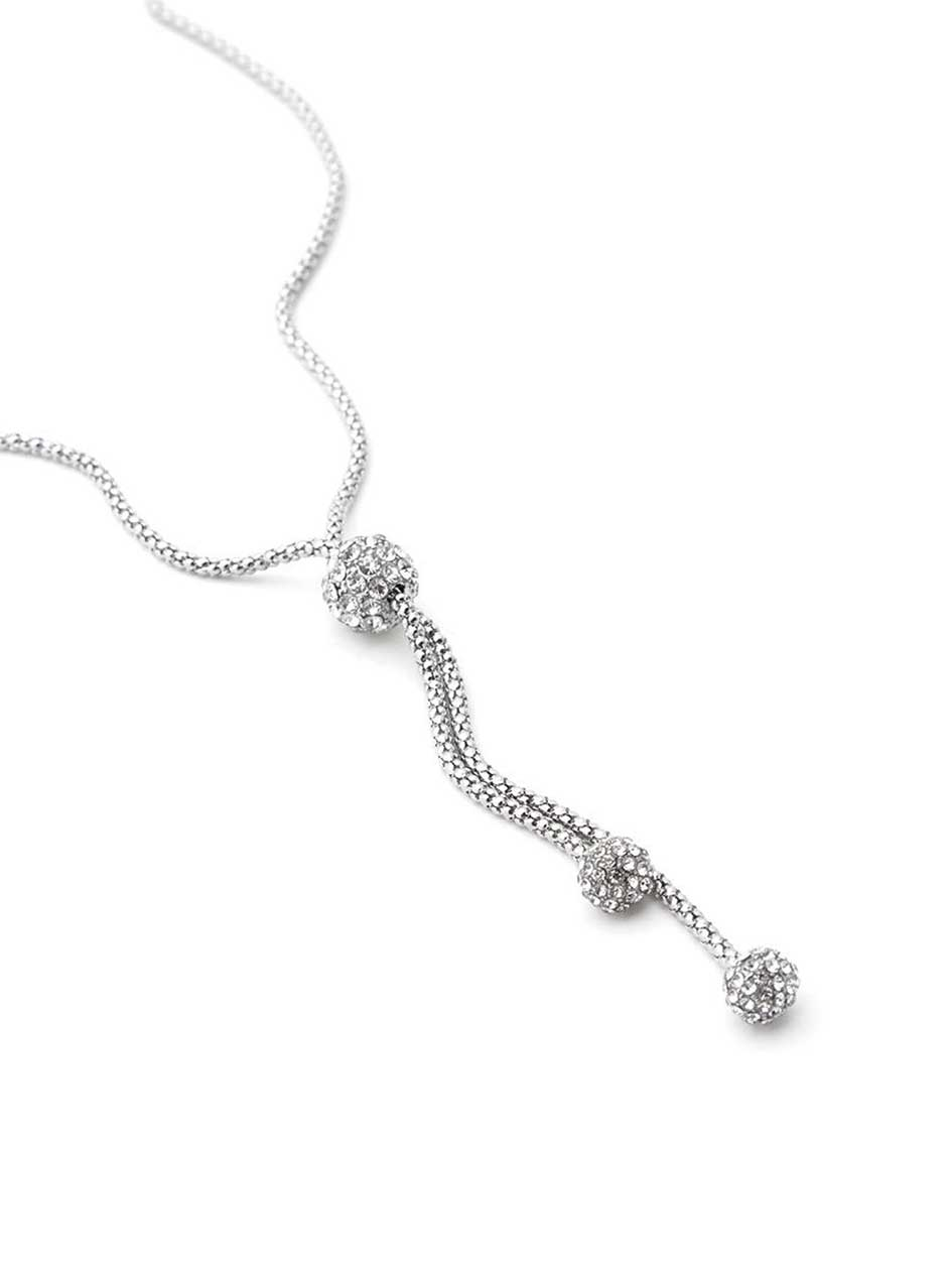 Necklace with Pave Ball Pendants