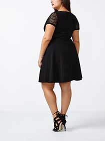 ONLINE ONLY Fit and Flare Dress with Crochet Trim