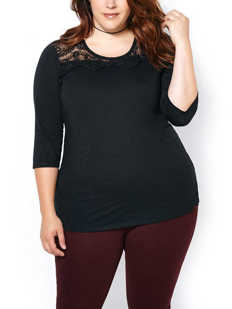 Shaped Fit 3/4 Sleeve T-Shirt with Lace