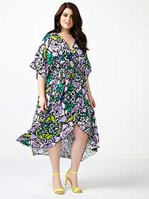 MELISSA McCARTHY Printed Wrap Maxi Dress