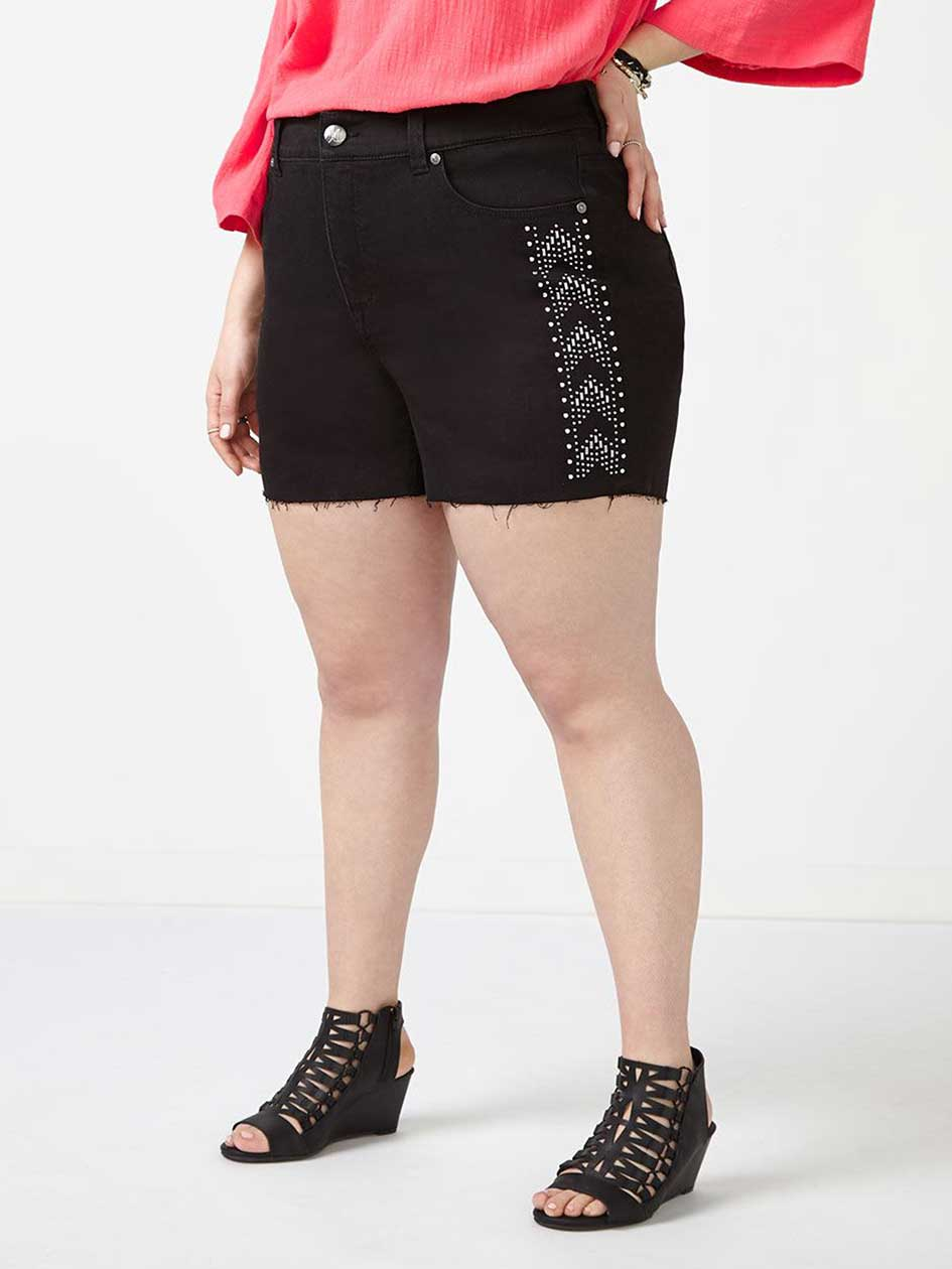 MELISSA McCARTHY Studded Black Denim Short