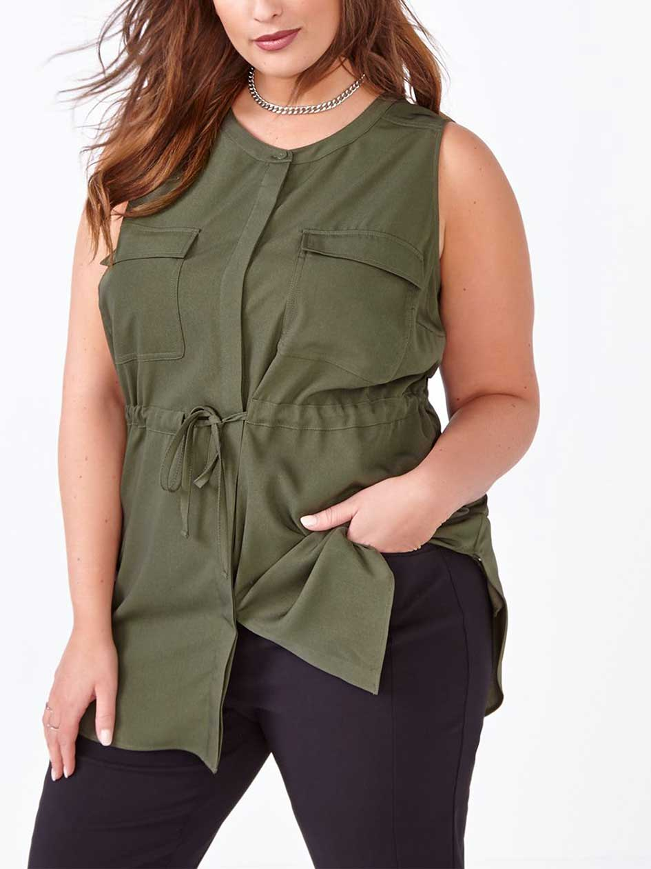 Sleeveless Military Blouse