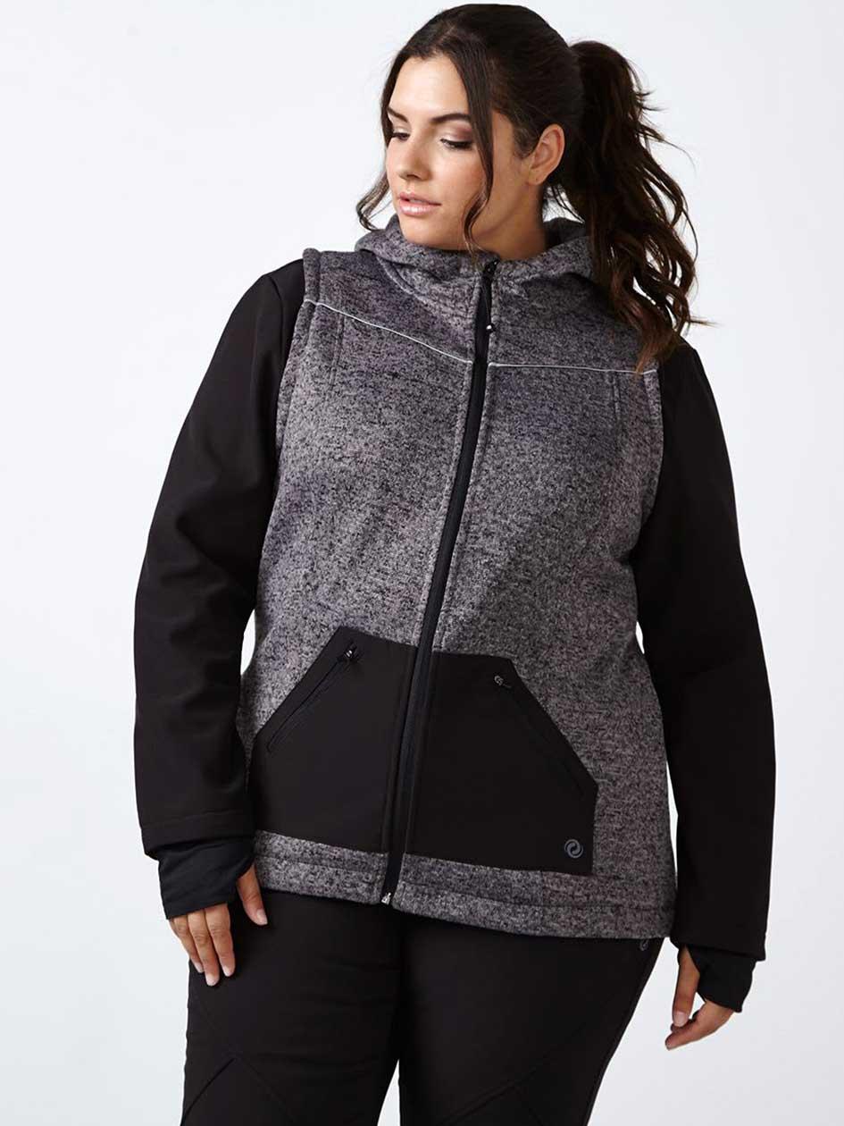 Sports - Plus Size Colour Block Zip Up Hoodie