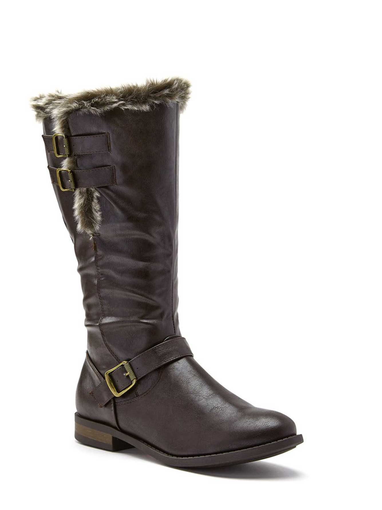 faux leather wide width winter boots penningtons