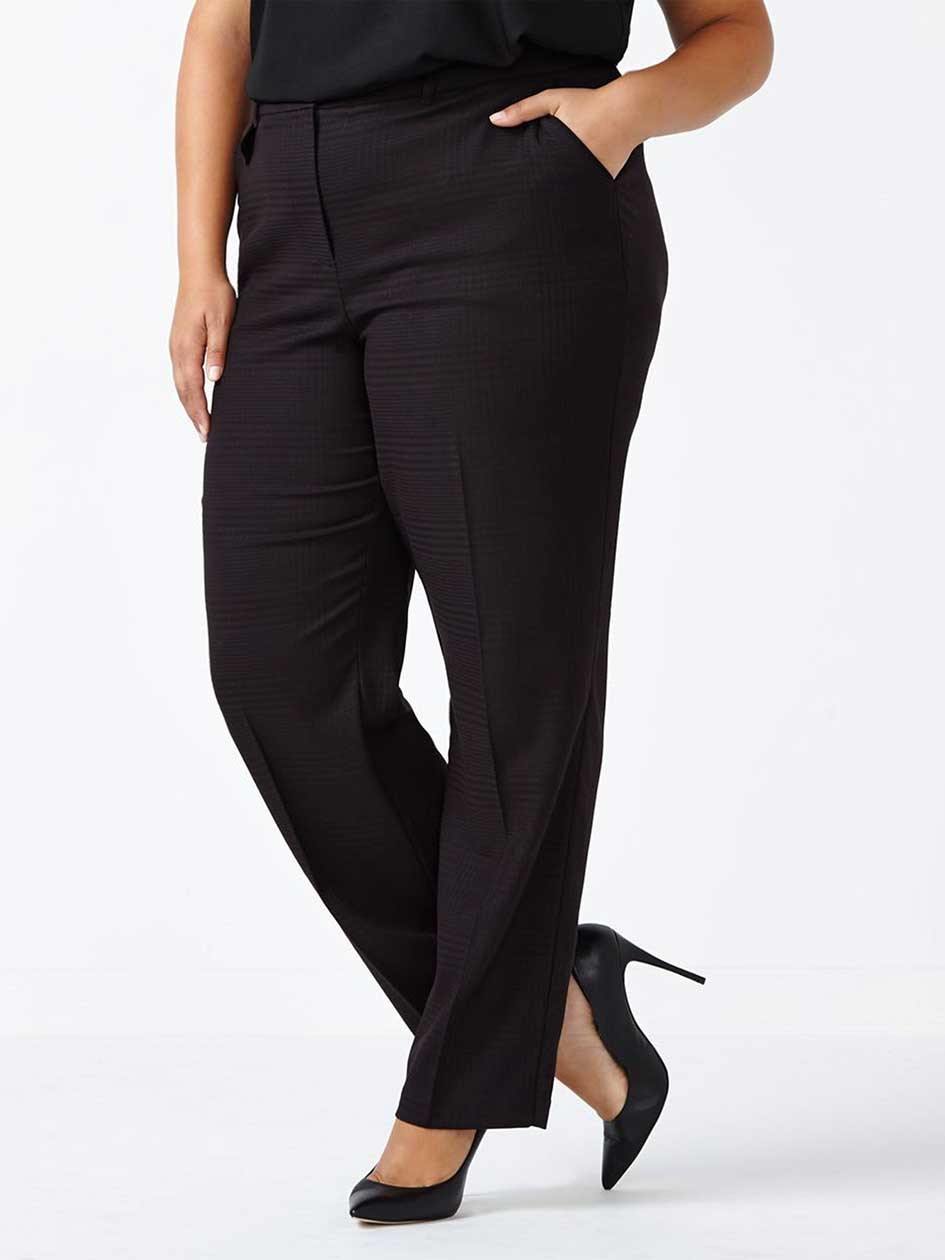 Petite - Curvy Fit Straight Leg Patterned Pant