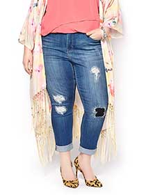 MELISSA McCARTHY Skinny Distressed Cropped Jean
