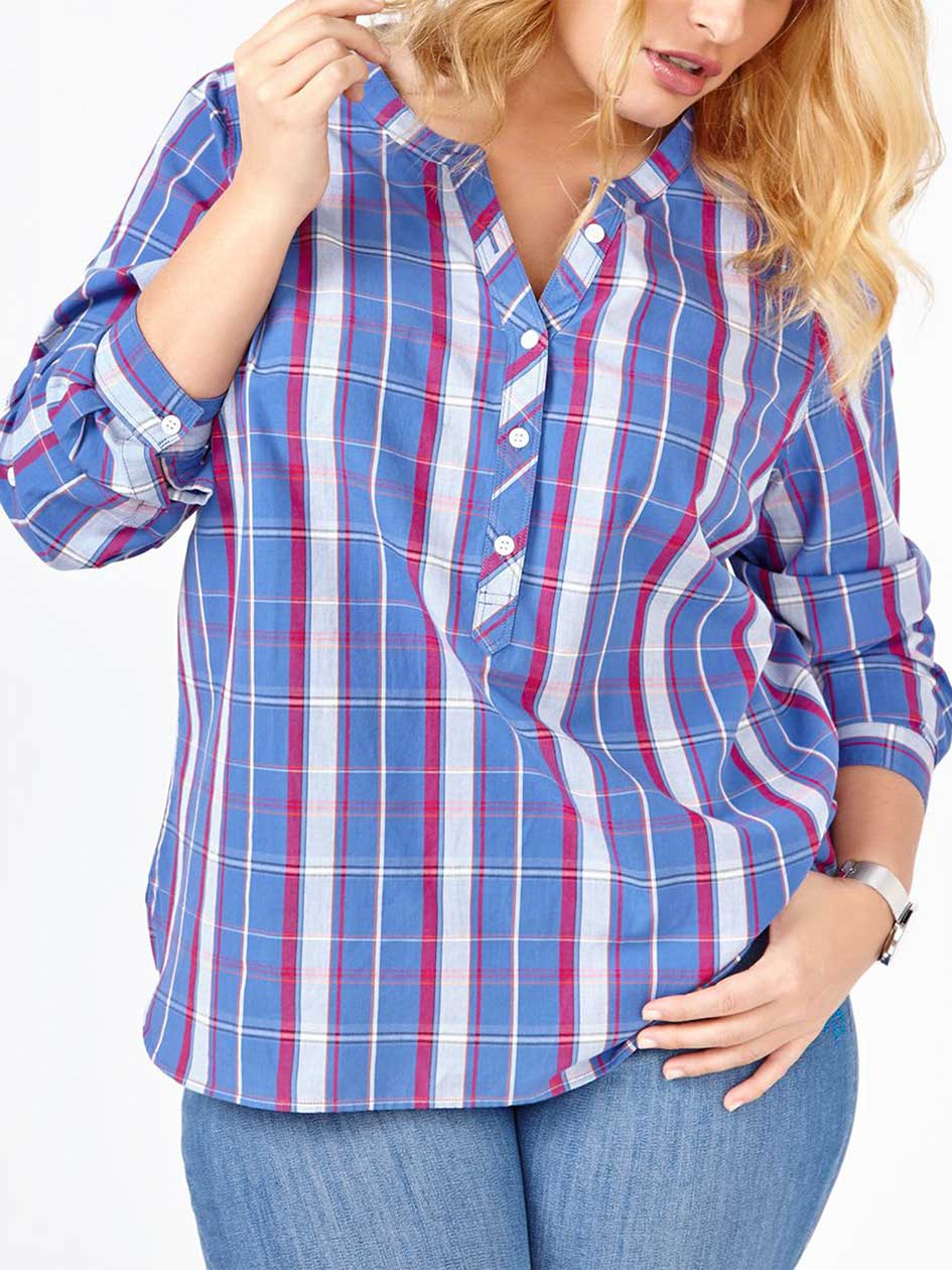 d/c JEANS Long Sleeve Popover Plaid Shirt