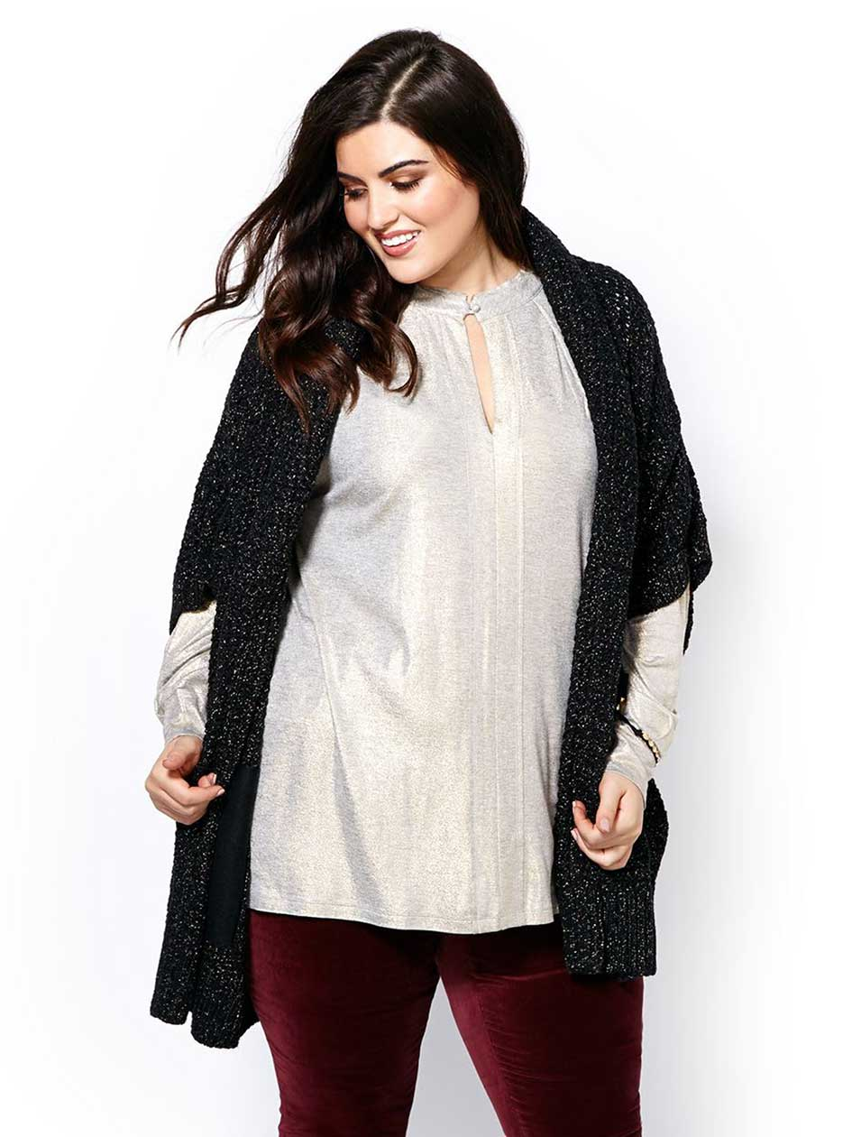 MELISSA McCARTHY Short Sleeve Open Cardigan