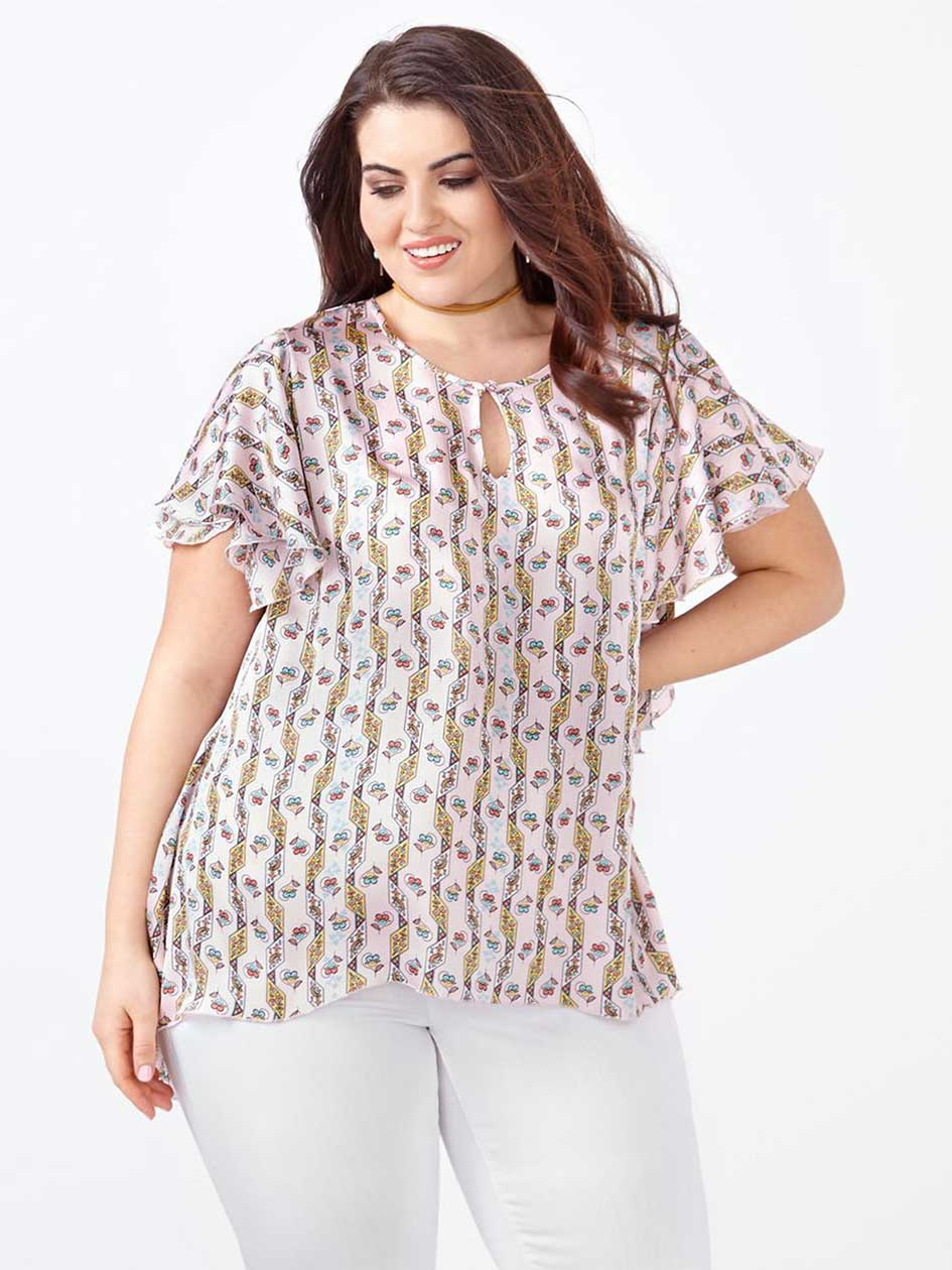MELISSA McCARTHY Flutter Sleeve Printed Blouse
