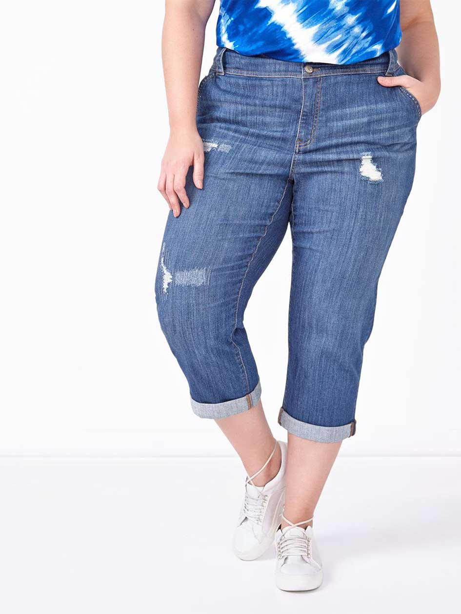 d/c JEANS Curvy Fit Straight Leg Boyfriend Denim Capri