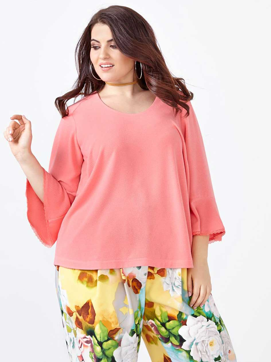 MELISSA McCARTHY 3/4 Bell Sleeve Top.Tea Rose.2X