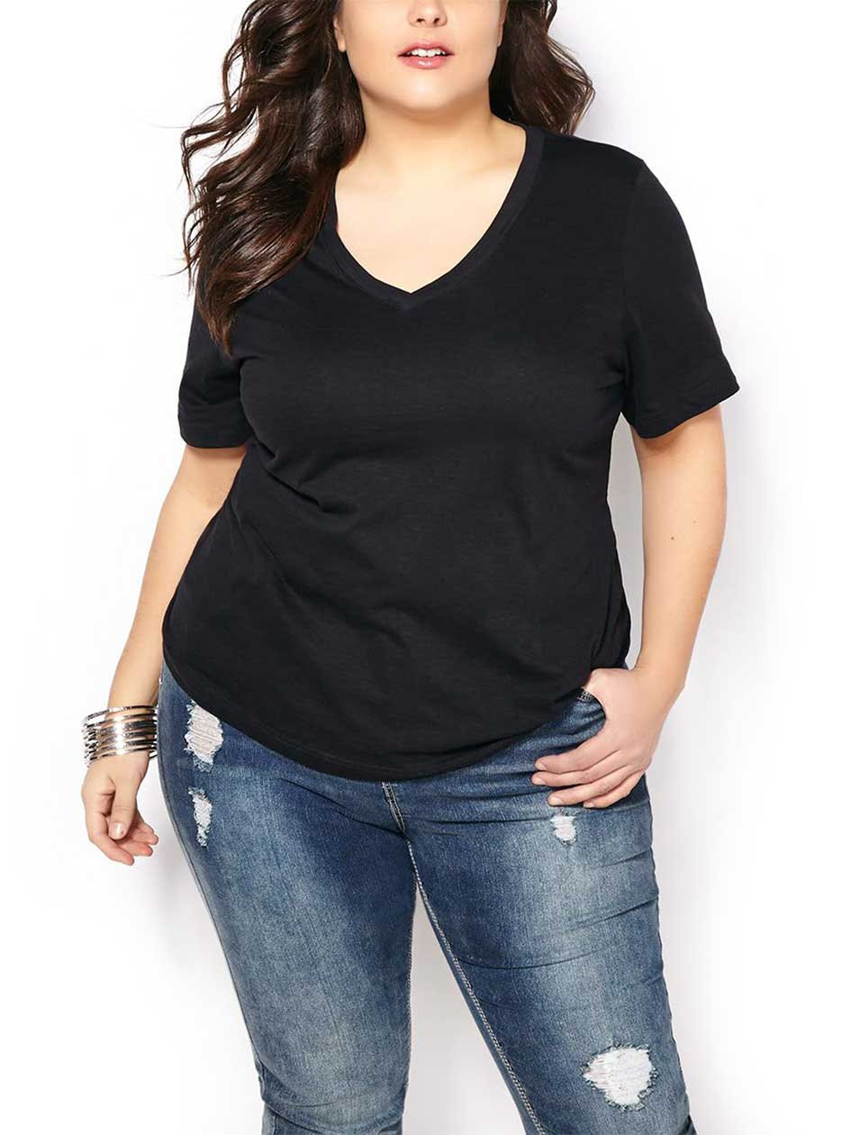 Shaped Fit Basic V-Neckline T-Shirt