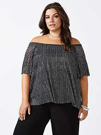 Shimmering Off Shoulder Top