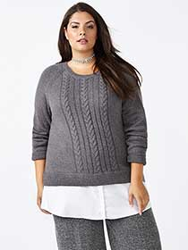 Cable Knit Sweater with Fooler Hem