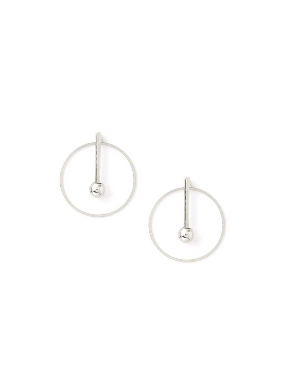 Hoop Earrings with Pave Bar.Rhodium.1Size