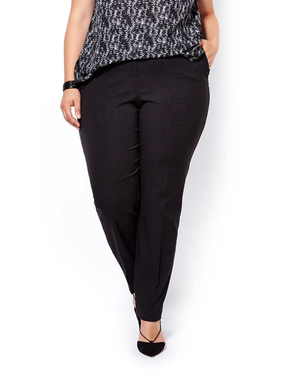 Petite - Slightly Curvy Fit Straight Leg Patterned Pant