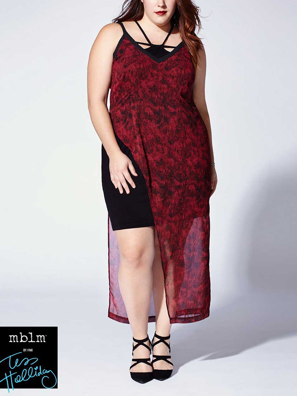 Tess Holliday - Sleeveless Printed Asymmetric Maxi Dress