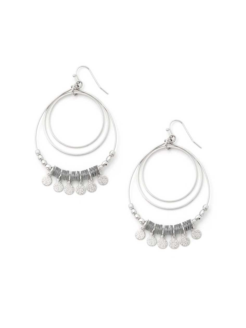 Hoop Earrings with Metal Discs