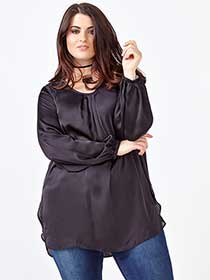 MELISSA McCARTHY Long Sleeve Draped Blouse