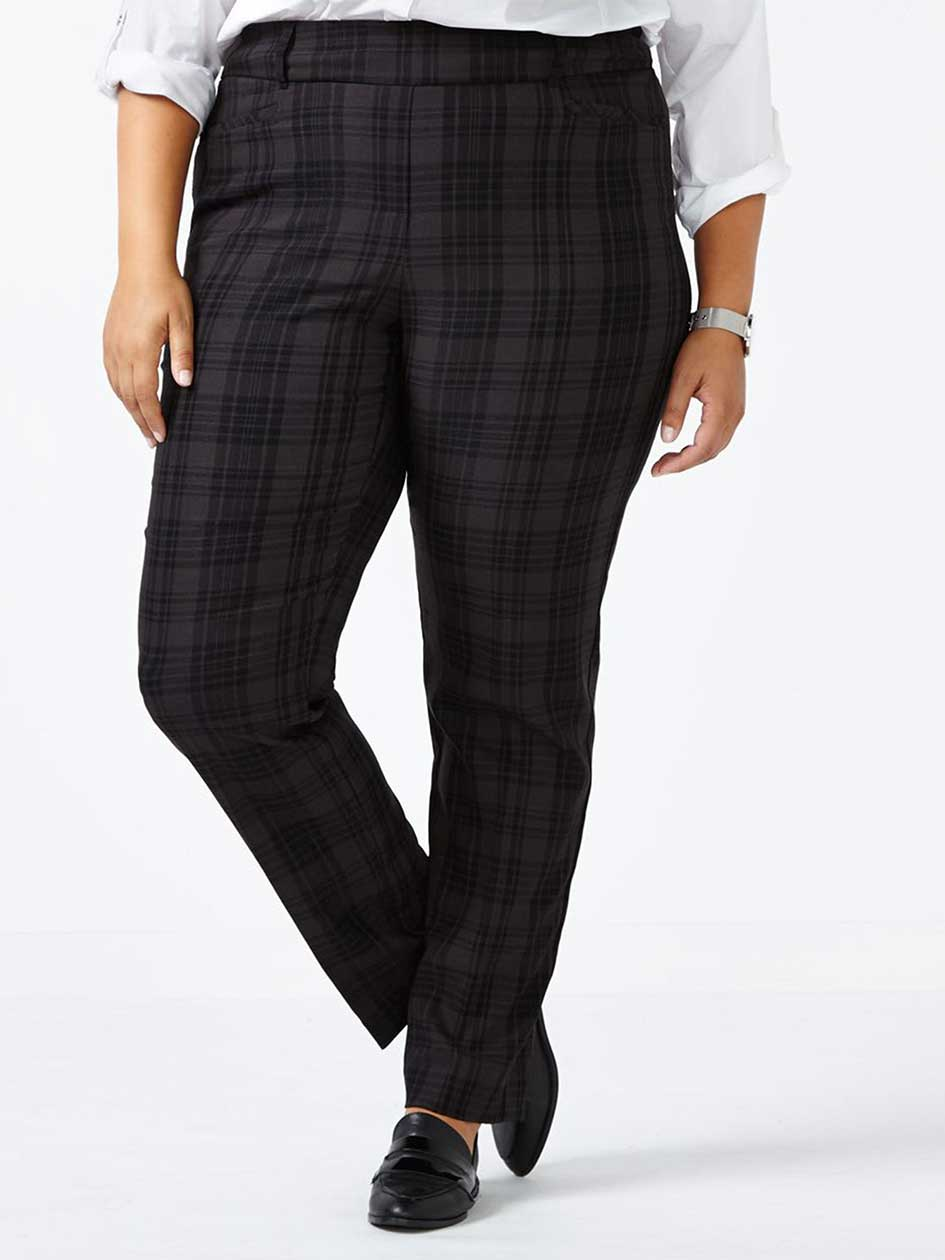 ONLINE ONLY - Tall Savvy Soft Touch Straight Leg Plaid Pant