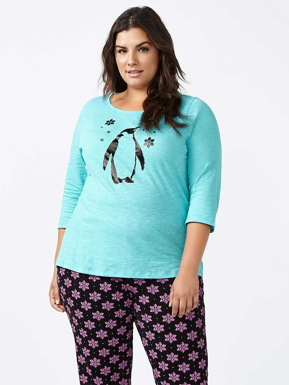 Ti Voglio 3/4 Sleeve Printed Cotton PJ Top