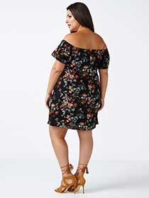 ONLINE ONLY Off Shoulder Floral Print Dress
