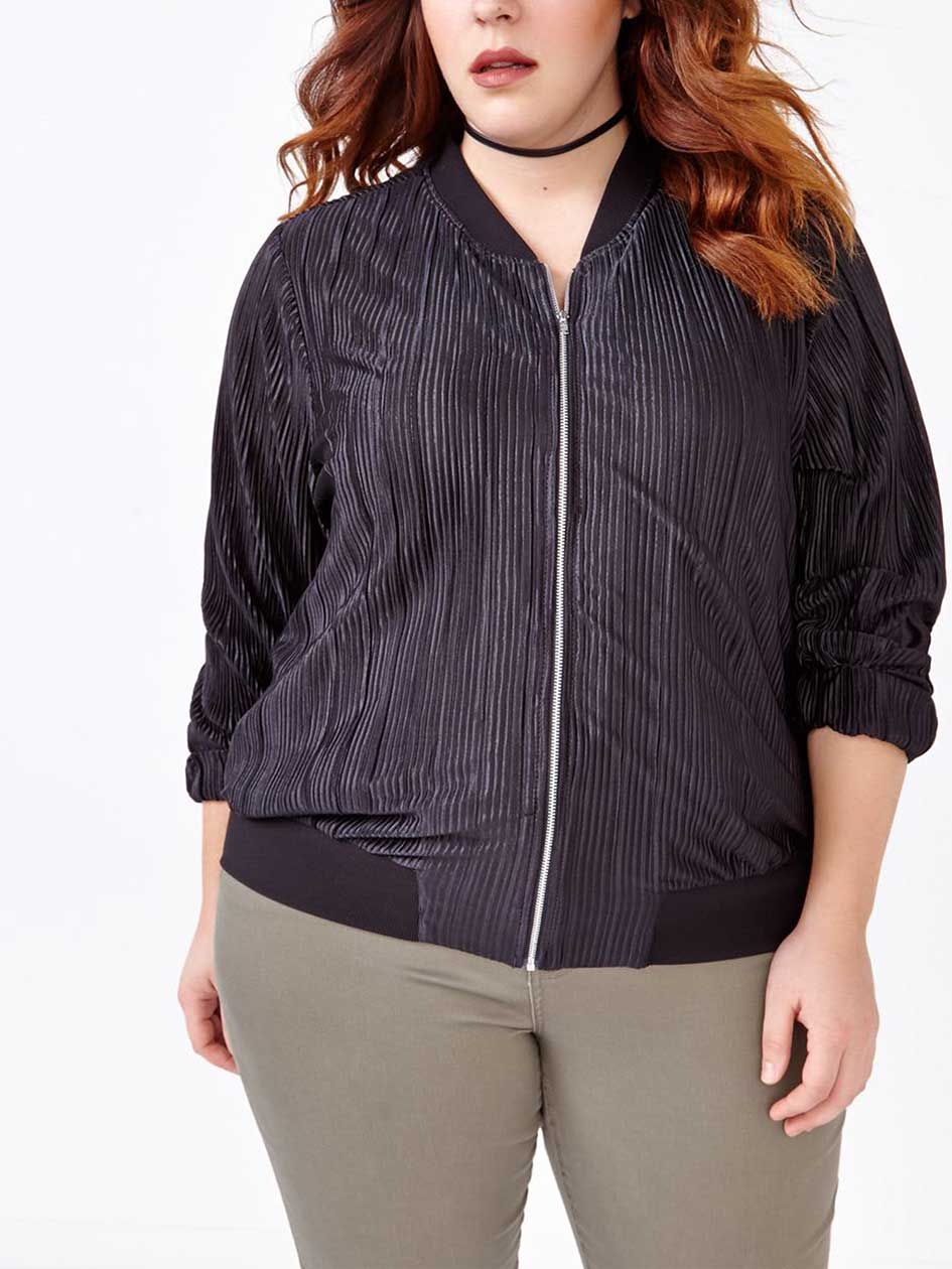Ribbed Bomber Jacket