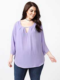 MELISSA McCARTHY Long Sleeve Cold Shoulder Blouse