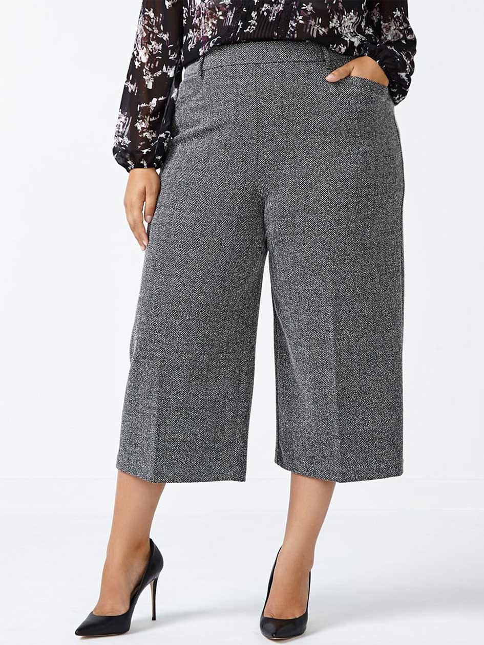 Cropped Wide Leg Tweed Pant