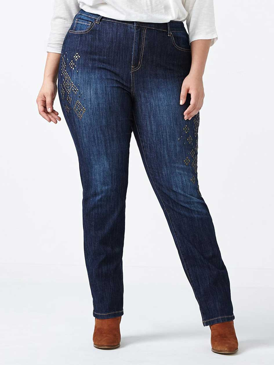ONLINE ONLY - d/c JEANS Tall Slightly Curvy Fit Straight Leg Embellished Jean